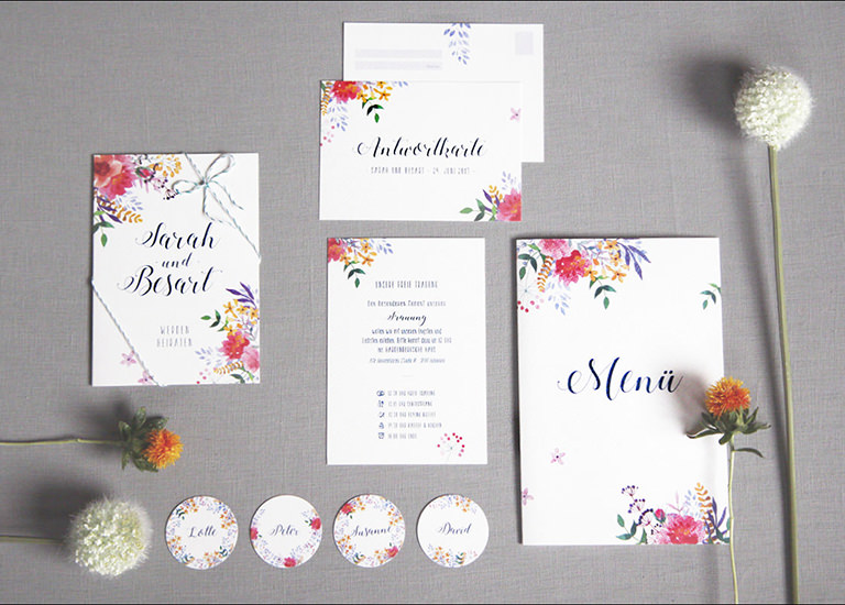 Individuelle Hochzeits-Papeterie Hannover | Save the date Einladungskarte Antwortkarte Menükarte