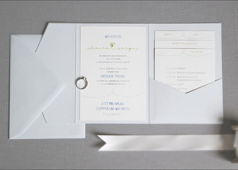 Individuelle Hochzeits-Papeterie Hannover | Save the date Einladungskarte Antwortkarte Pocket