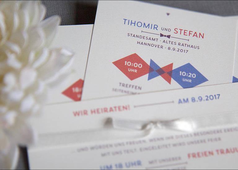 Individuelle Hochzeits-Papeterie Hannover | Save the date Einladungskarte Antwortkarte Ablauf