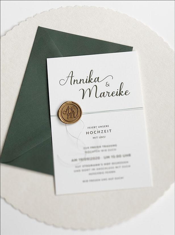 Individuelle Hochzeits-Papeterie Hannover | Save the date Einladungskarte Antwortkarte Tischkarte Menükarte